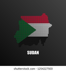 Vector illustration of abstract halftone map of Sudan made of square pixels with Sudanese national flag colors for your graphic and web design