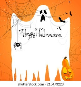 Vector Illustration of an Abstract Halloween Background with Ghost