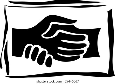 vector illustration of abstract handshake on black background
