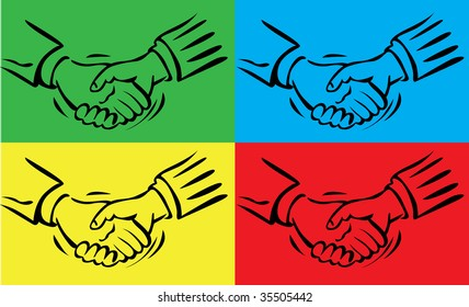 vector illustration of abstract handshake on color background