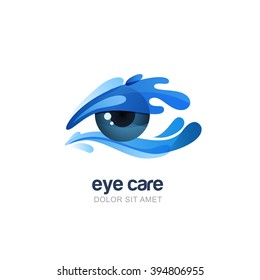 Vector illustration of abstract human eye in clean water splash. Logo, emblem design elements. Concept for optical, glasses shop, oculist, ophthalmology, healthcare research. Natural organic eye care