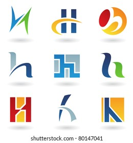 Vector illustration of abstract icons based on the letter H