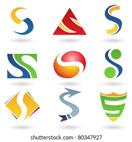 Vector illustration of abstract icons based on the letter S
