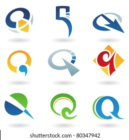 Vector illustration of abstract icons based on the letter Q