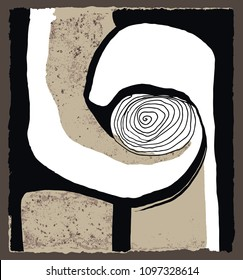 A vector illustration of an abstract ink painting on brown paper. Hand drawn spiral composition.
