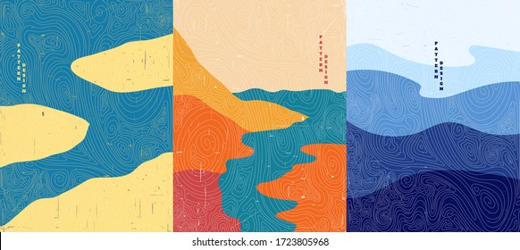 Vector illustration. Abstract landscape background. Hand drawn pattern design. Geometric template. Ornamental  poster concept. Vintage art. 70s, 80s retro graphic. Ocean, islands, seascape