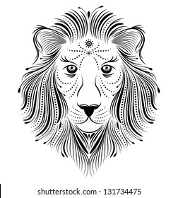 Vector illustration of abstract lion on white background