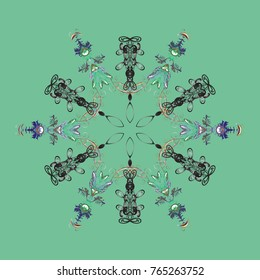 Vector illustration. Abstract mandala or whimsical snowflake line art design. Isolated cute snowflakes on colorful background.