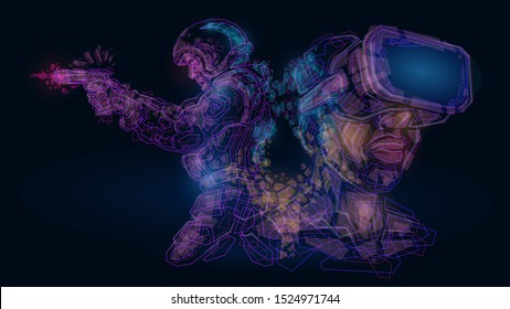Vector illustration abstract mash line low polygonal geometric shapes wireframe virtual reality war game,gun pistol fighter soldier warrior,helmet glasses VR .Concept technology and computer games