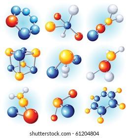 Vector illustration -  abstract molecule icon set