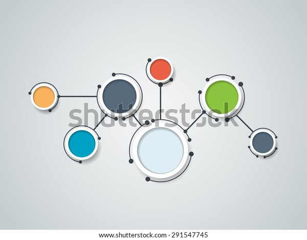 Vector illustration of abstract molecules and communication - social media technology concept with label circles design and space for your content, business, social media, network and web design.