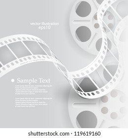 Vector illustration abstract monochromatic film reel concept background - eps10