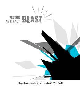 Vector illustration, abstract object, explosion substance matter.