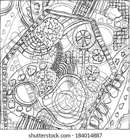 A vector illustration of an abstract ornamental drawing. Outline linear doodle. Black & White.