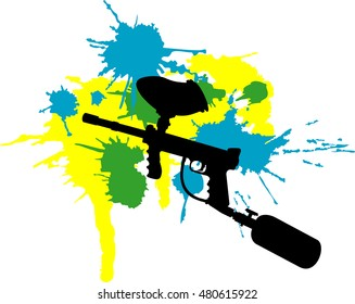 Vector illustration of abstract  paintball gun