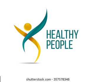vector illustration abstract person of the elegant lines of the design concept for the logo associated with the business people, health, sports, assistance