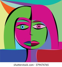 Vector illustration abstract picture view, colored face