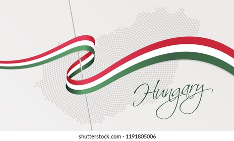 Vector illustration of abstract radial dotted halftone map of Hungary and wavy ribbon with Hungarian national flag colors for your graphic and web design