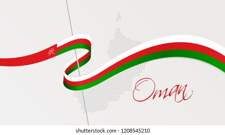 Vector illustration of abstract radial dotted halftone map of Oman and wavy ribbon with Omani national flag colors for your graphic and web design