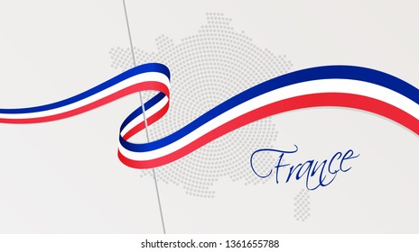 Vector illustration of abstract radial dotted halftone map of France and wavy ribbon with French national flag colors for your design