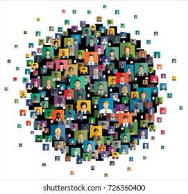 Vector illustration of an abstract scheme, which contains people icons.