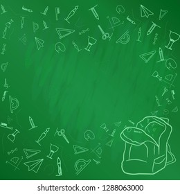 Vector illustration. Abstract school subjects drawn in chalk on a blackboard. Each element is made in one line