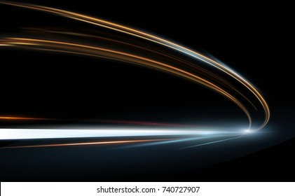 Vector Illustration of abstract, science, futuristic, energy technology concept. Digital image of arrow sign, lines with light, speed background.