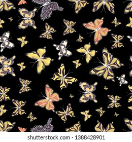 Vector illustration. Abstract seamless pattern for girls, boys, clothes, wallpaper. Collection of colorful butterflies, flying in different directions.
