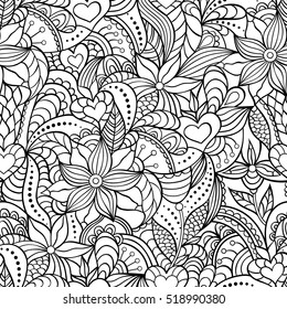 Vector illustration of abstract seamless pattern.Coloring page for adult.