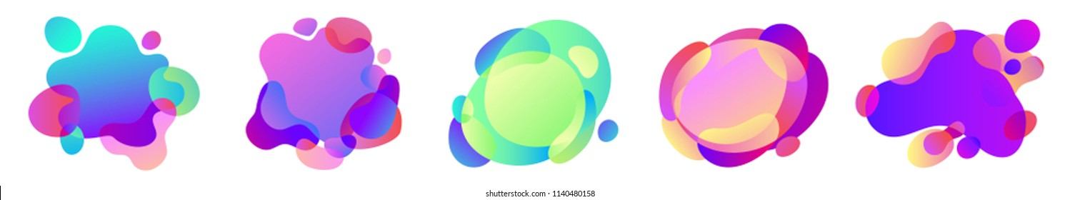Vector illustration. Abstract Set of blur free form shapes in gradient iridescent colors effect soft transition. Template of fluid organic shapes with plastic lines and forms. Liquid effect background