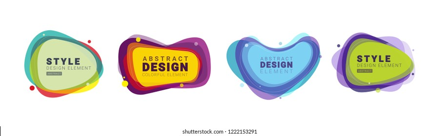 Vector illustration abstract shape. Colorful creative frames for advertising text, with the effect of imposing. Modern graphical design business cards, invitations, gift cards, flyers, brochures