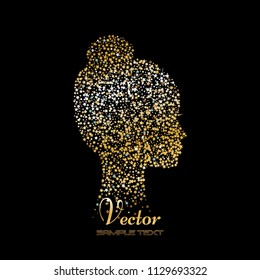Vector illustration of Abstract silhouette of a girl. Gold stars on a black background