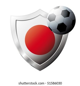Vector illustration - abstract soccer theme - shiny metal shield isolated on white background with flag of Japan