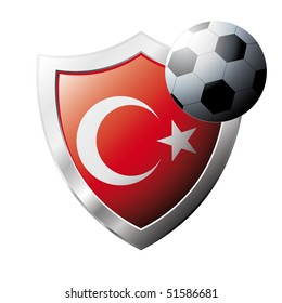 Vector illustration - abstract soccer theme - shiny metal shield isolated on white background with flag of Turkey