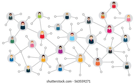 Vector illustration of an abstract social network scheme, which contains business people icons connected to each other.