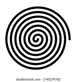 Vector illustration of abstract spiral icon. Black and white helix, loop, curl, gyre, scroll isolated on background. Simple flat element for design.