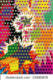 Vector illustration of an abstract stars twinkle drawing. Multicolor dotted pointillism artwork.