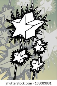 Vector illustration of an abstract stars twinkle drawing.