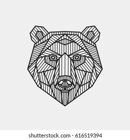 Vector illustration. Abstract stylized bear's head. Line art.