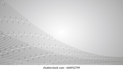 Vector illustration of abstract technology. Black wireframe mesh on grey background.