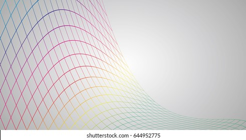 Vector illustration of abstract technology. Colorful wireframe mesh.