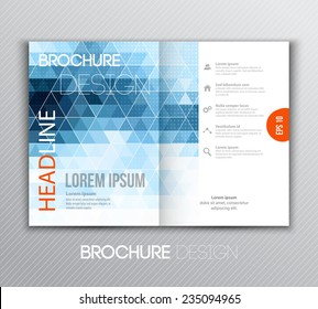 Vector illustration Abstract template brochure design with blue  geometric background