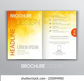 Vector illustration Abstract template brochure design with orange  geometric background