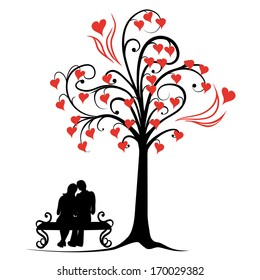 vector illustration abstract tree of love - eps10