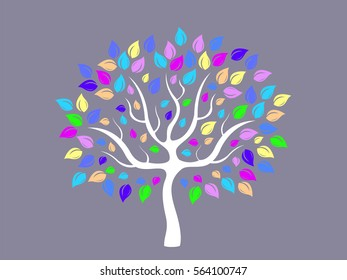 Vector illustration of abstract tree with multicolored foliage for your logo or other design