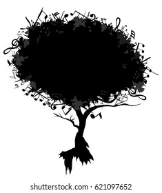 vector illustration of an abstract tree with musical notes.
