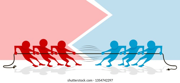Vector illustration of abstract tug of war