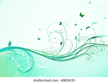 Vector illustration of abstract turquoise floral Background