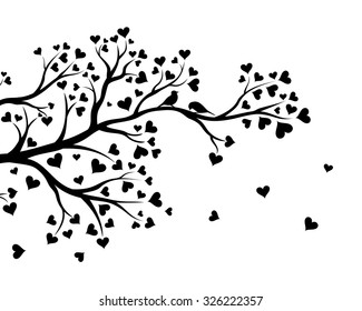 Vector illustration of abstract Valentine tree branch with hearts in black color.