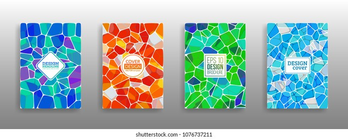 Vector Illustration of abstract vitrage background. Decorative stained glass pattern for design poster, cover, flyer and brochure.
